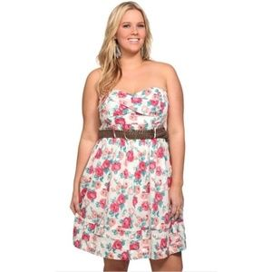 Torrid Cream Flower Print Strapless Belt Dress 14